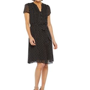MSK Polka Dot Pintuck A-Line Dress